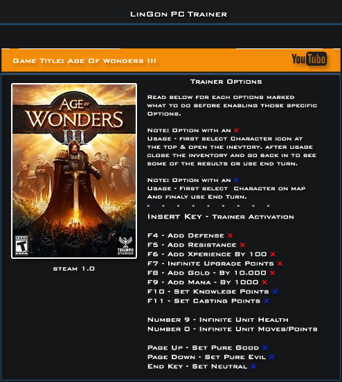 Age Of Wonders 3 v1.0 Steam Trainer +13 [LinGon]