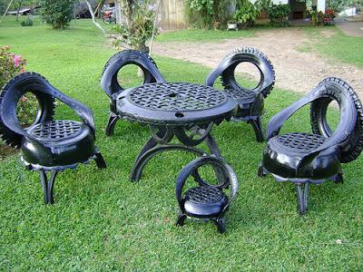 Produtos feitos da reciclagem de pneus velhos