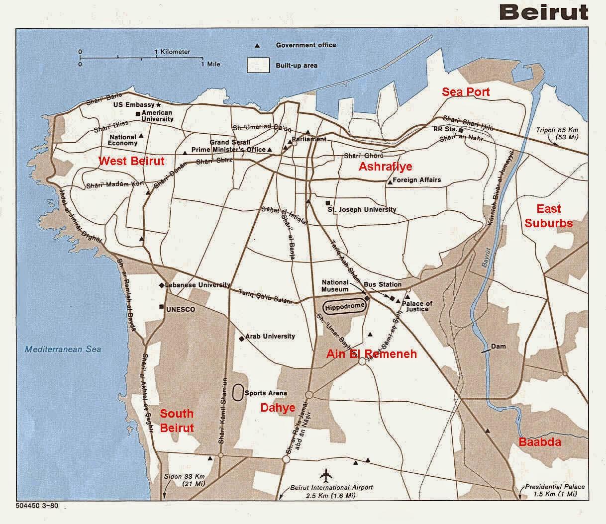 Lebanon Map Beirut City center.
