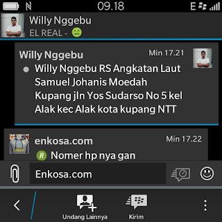alamat lenglap data customer enkosa sport toko online baju bola terpercaya Alamat lengkap Willy Nggebu di enkos sport