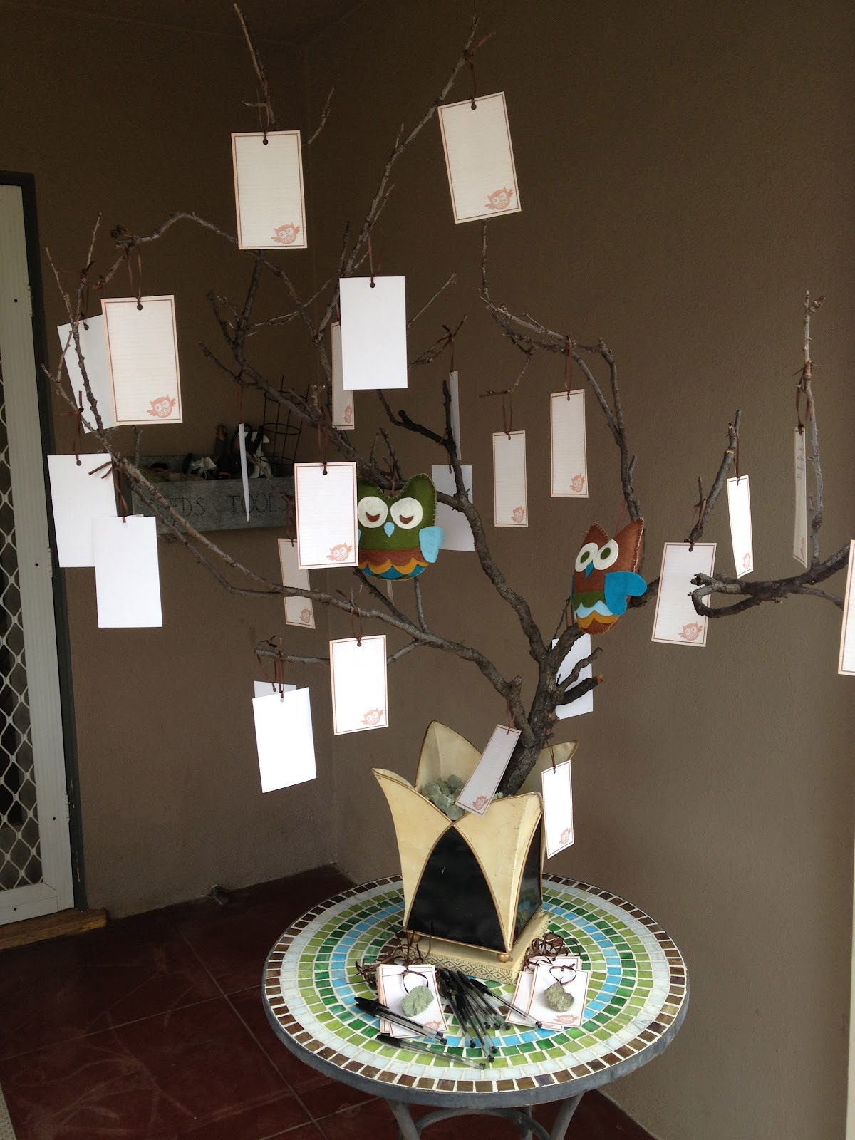 love note tree for a baby shower with owls