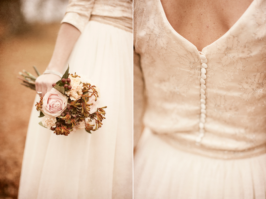 Bryllupsbilder av detaljer, bukett og kjole, fotograf trine Bjervig, tønsberg, vestfold