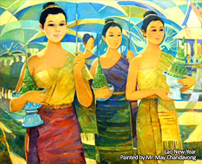 Lao Artist Profile - Lao New Year painting by May Chandavong