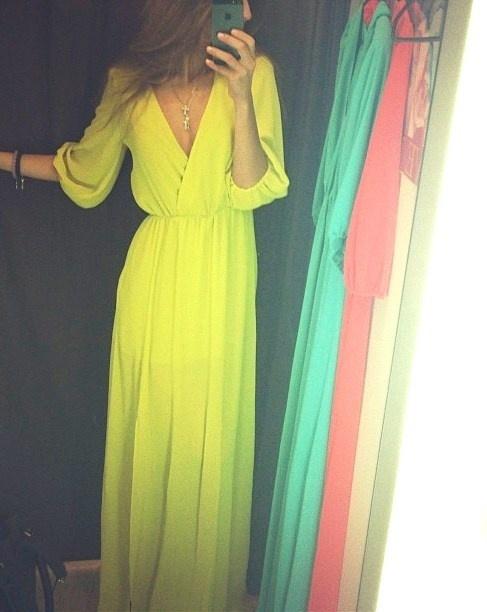 Yellow flowy prom dress