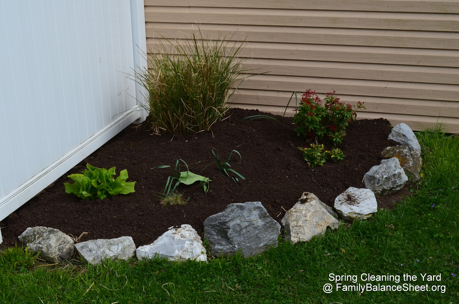 front yard landscaping spring clean up family balance sheet