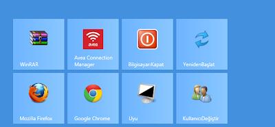 Windows 8 de başlangıç ekranına yeniden başlat,bilgisayarı kapat ,uyku modu gibi kısayol düğmeleri ekleme