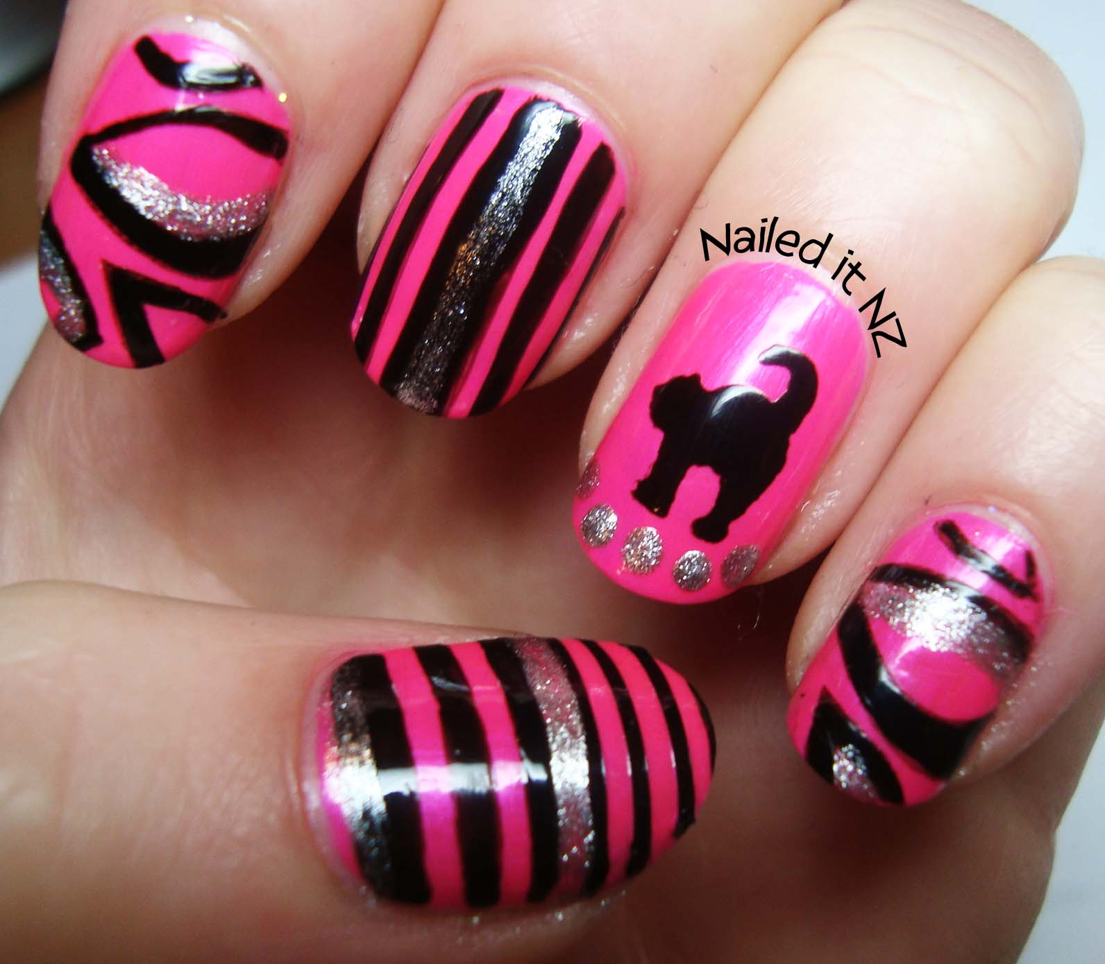 Hot Nail Designs: Rainbow Nails And A Hot Pink Cat