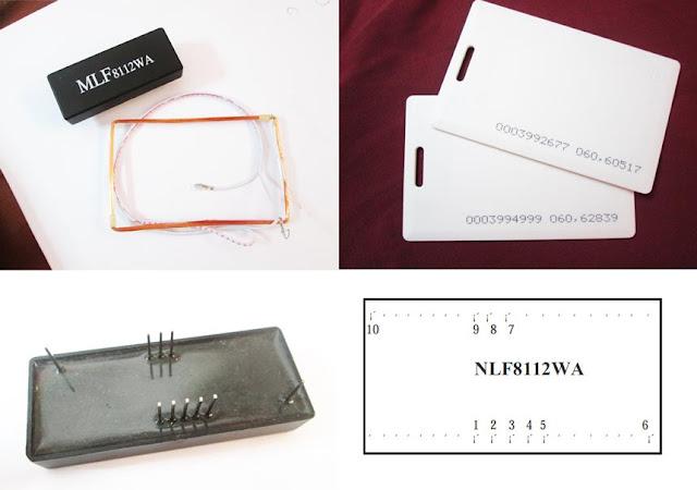Gambar RFID Reader MLF8112WA, tag RFID, dan fungsi Pinnya