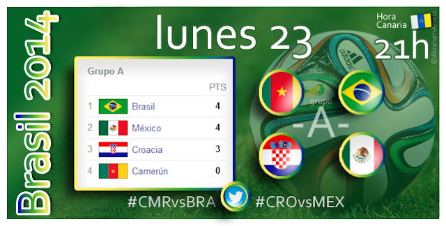 Camerún - Brasil (21.00h) Croacia - México (21.00h) #Mundial2014 #Canarias