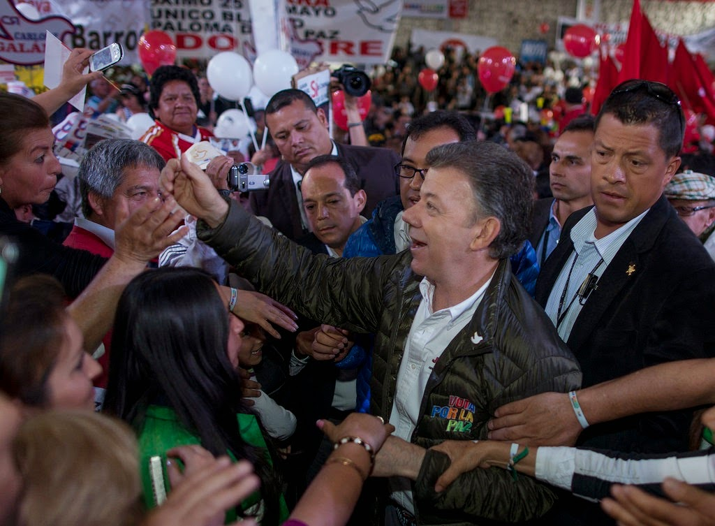 President Santos on the campaign trail.