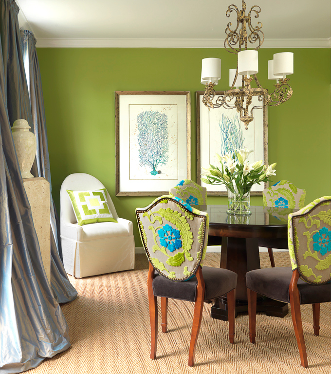 Blue and green dining room room design ideas for Green dining room