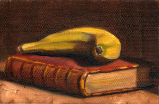 Oil painting of a banana on top of an old red leather-bound book.