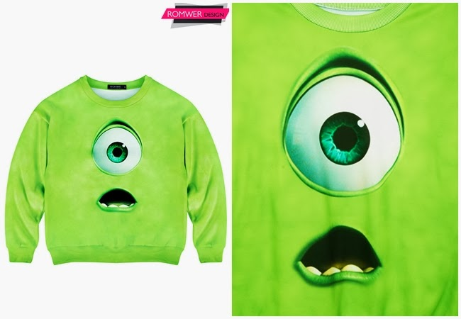 Romwe Green Monster Print Sweatshirt