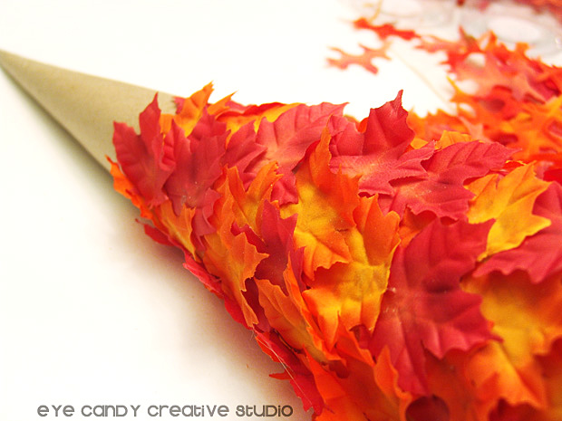 gluing leaves on tree form, fall colors, fall crafting, simple fall craft