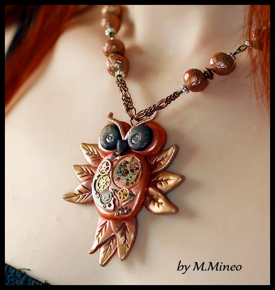 polymer clay steampunk necklace