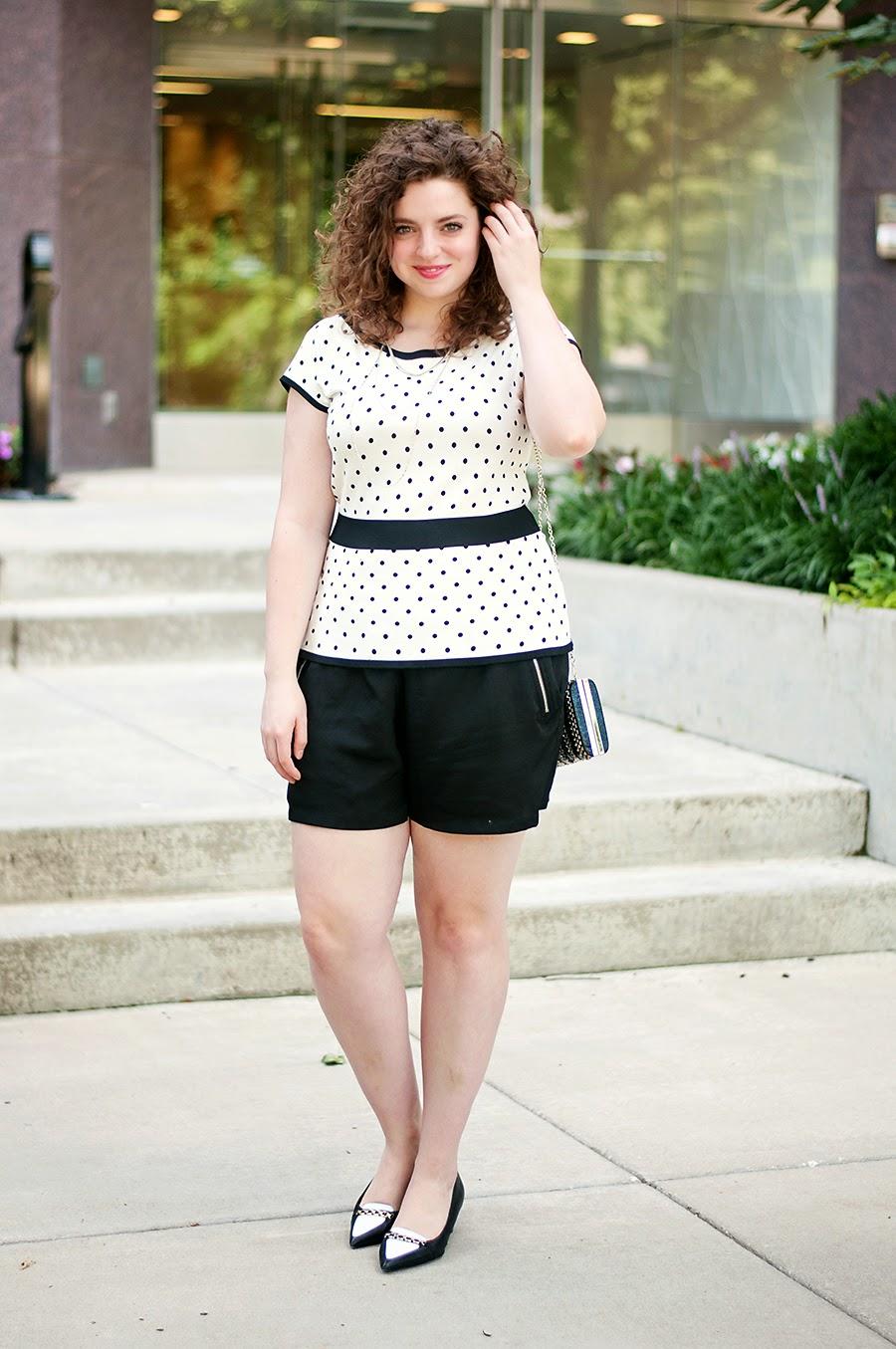 Polka dot top and silk shorts outfit