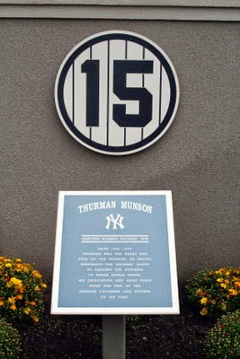 Thurman Munson number 15 in Monument Park Yankee Stadium