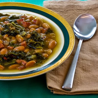 Slow Cooker (CrockPot) Cannellini Bean and Kale Soup Recipe with Ham and Sherry Vinegar found on SlowCookerFromScratch.com