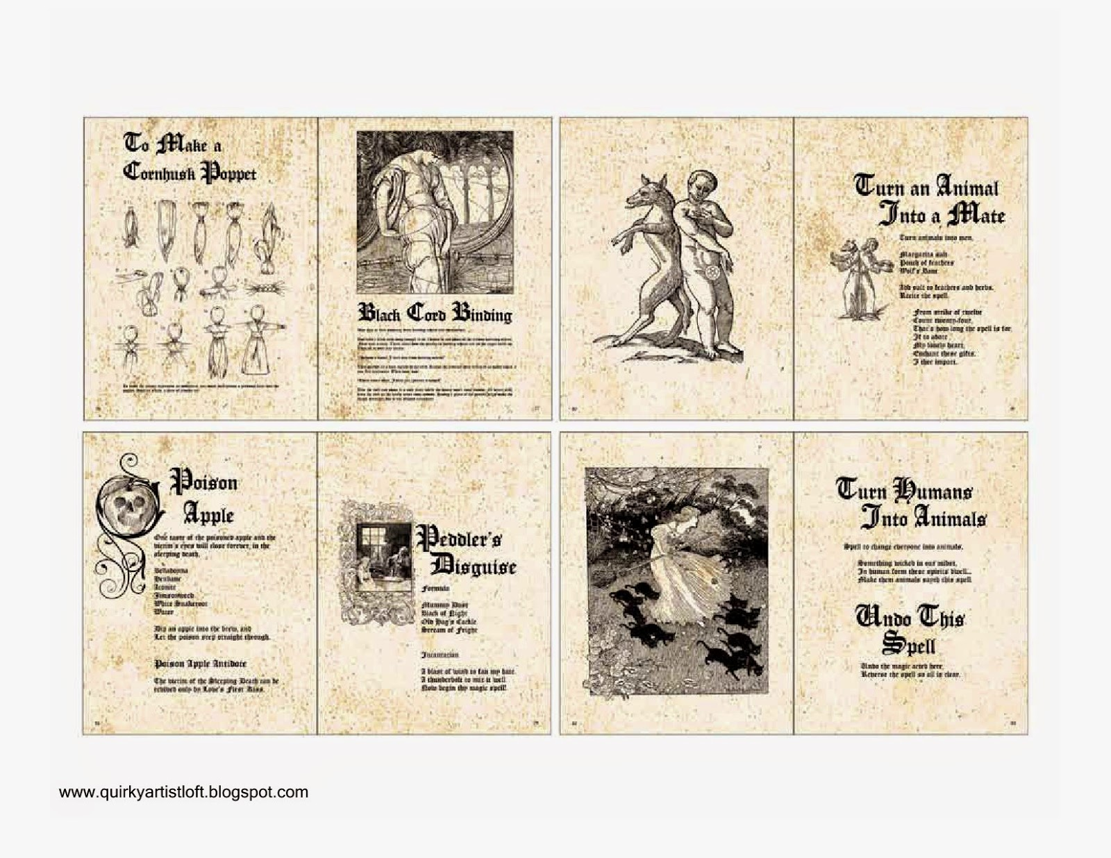 image relating to Harry Potter Spell Book Printable named Quirky Artist Loft: Absolutely free Printable Doll Spell E book