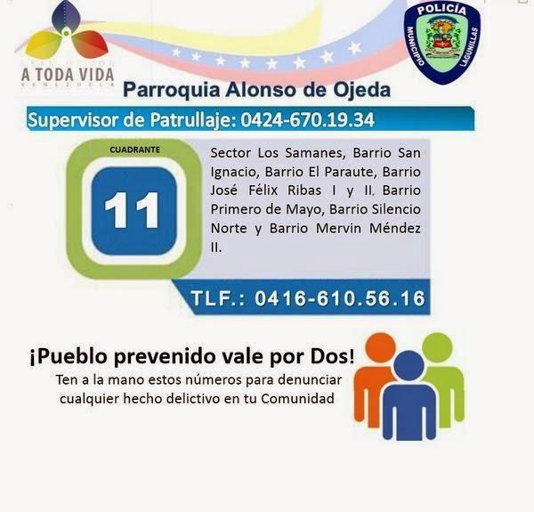 Numero de Policía de Lagunillas edo Zulia