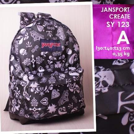 jual online tas ransel jansport kanvas kw murah motif skull