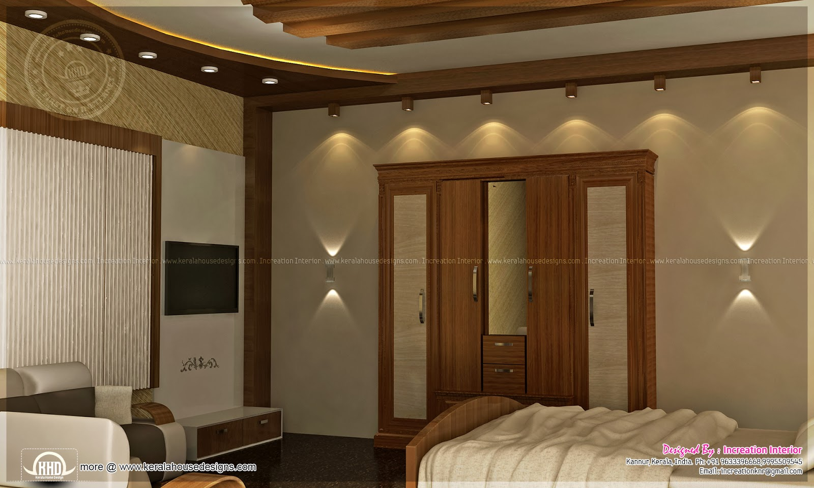 Bedroom interior designs kerala home design and floor plans for Kerala home interior