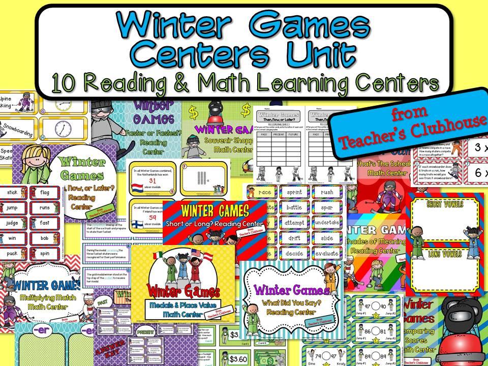 http://www.teacherspayteachers.com/Product/Winter-Games-Centers-Unit-from-Teachers-Clubhouse-1087873