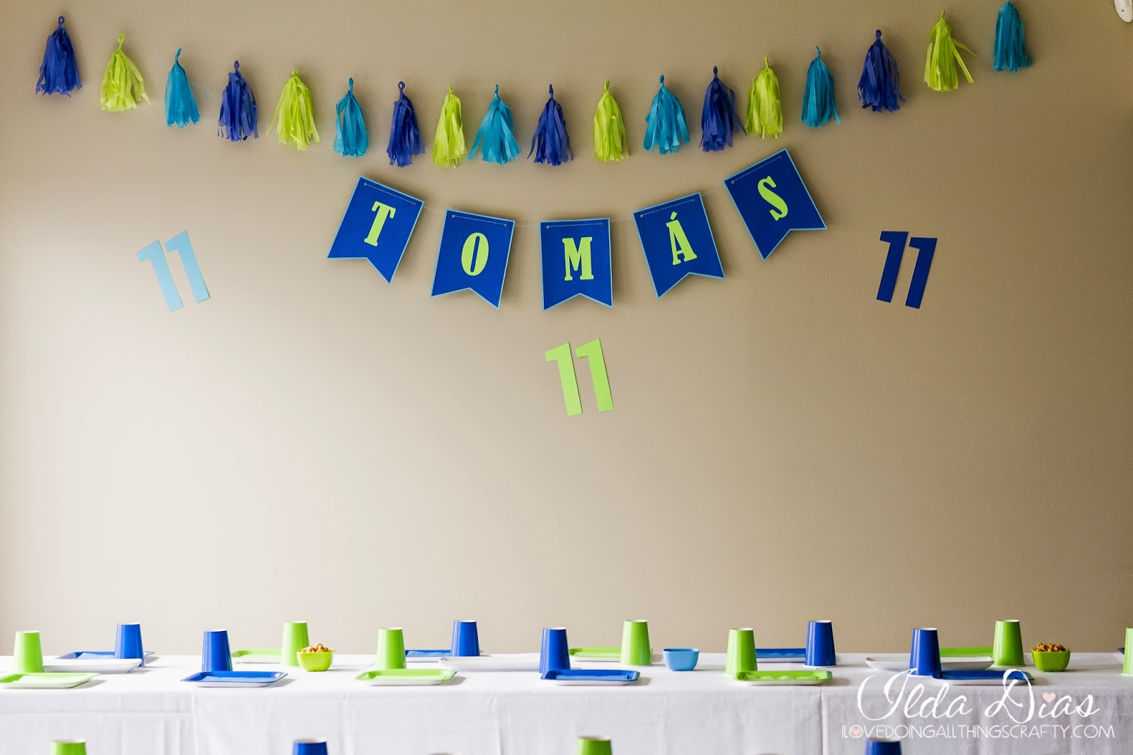simple blue and green birthday party theme tomas 11th birthday