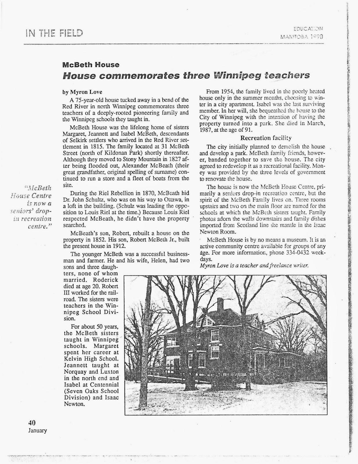 House commemorates three Winnipeg Teachers - click for article PDF
