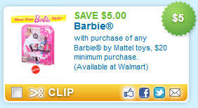 $5.00 off with purchase of any Barbie toys