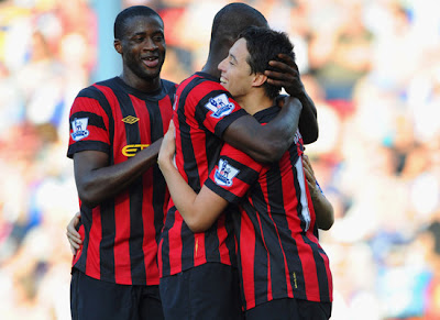 Samir Nasri - Mario Balotelli - Yaya Taore Blackburn Rovers vs Manchester City Barclays Premier League