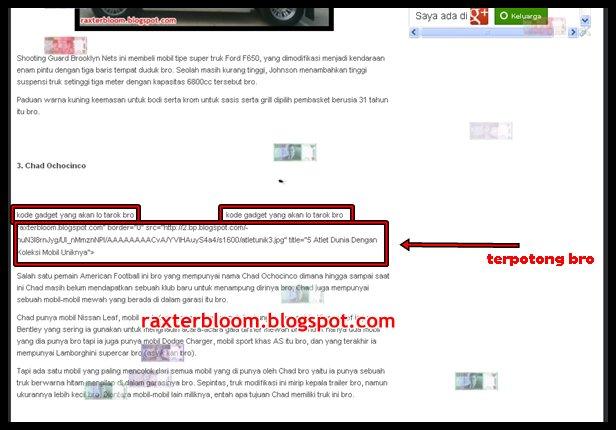 Cara Membuat 2 Kolom Gadget di Tengah Postingan raxterbloom.blogspot.com
