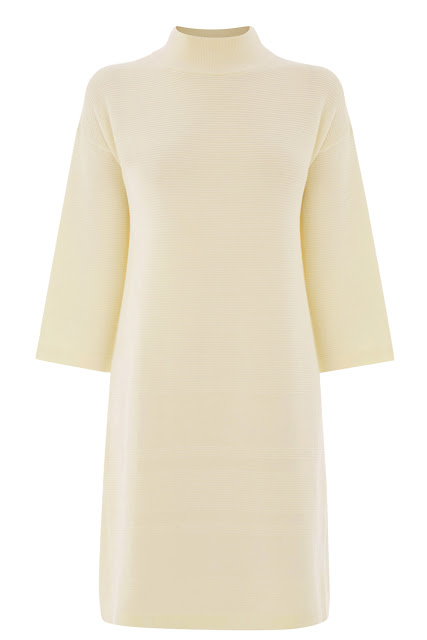 warehouse cream dress, high neck cream dress,