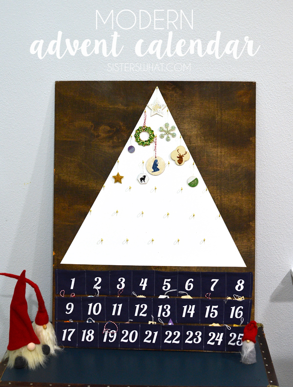 A fun modern advent calendar with painted little ornaments