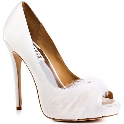 Bridal shoes Badgley mischka feathers