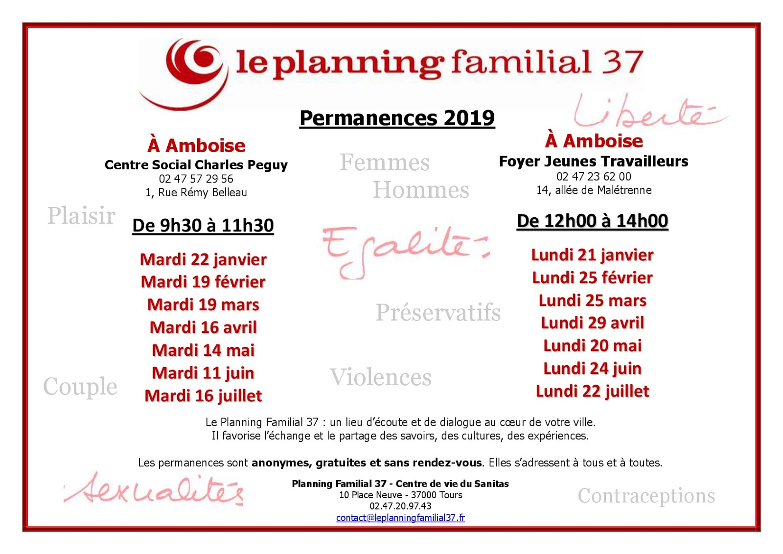 PERMANENCES 2019 PLANNING FAMILIAL 37