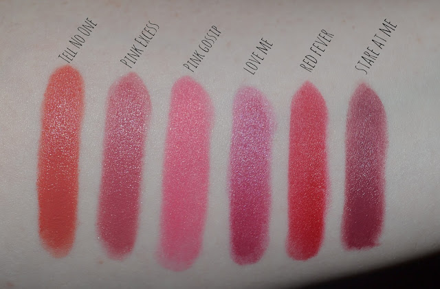 image of Rimmel Colour Show Off lipsticks fragrance direct swatches