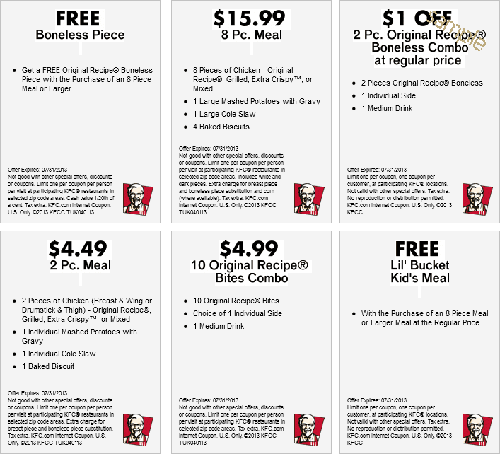 Kfc discount coupons