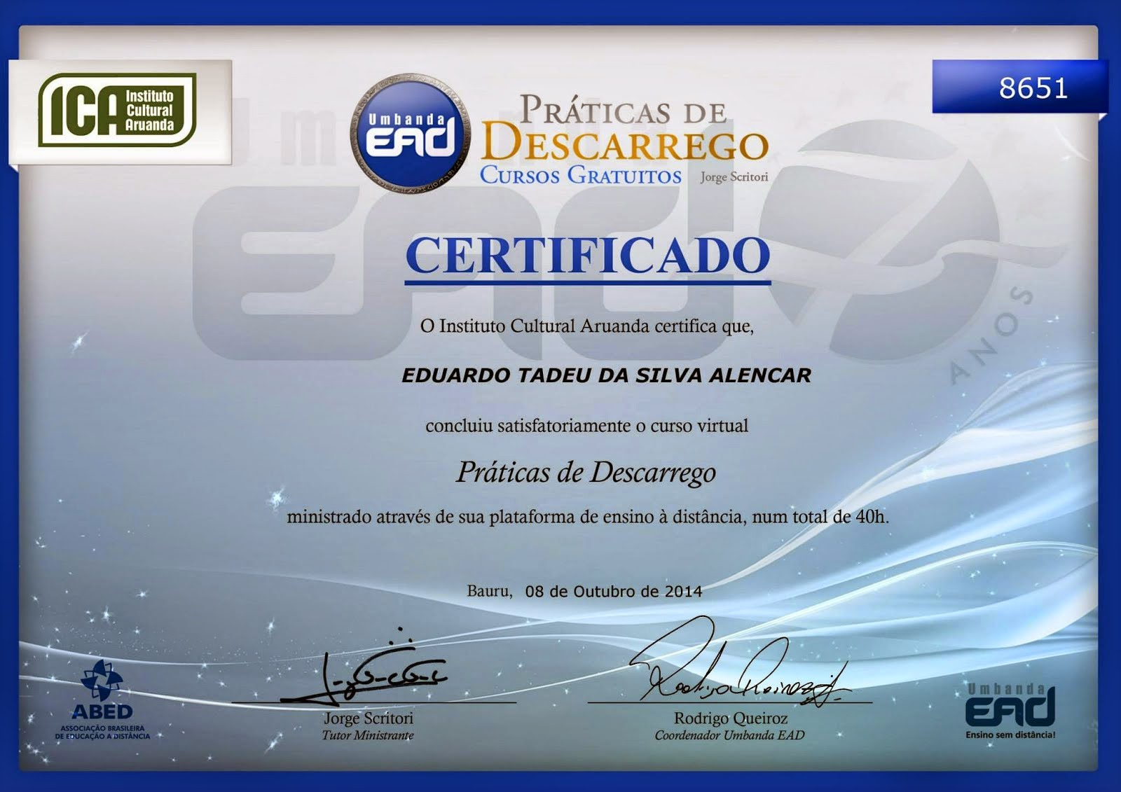 "Certificado do Curso: ""Descarrego"""