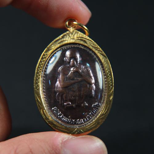Thai Amulet God Ganesh Elephant Gold Frame Pendant 4.2cm Height