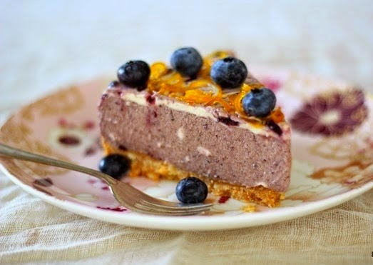 American Blueberry and Orange Cheesecake