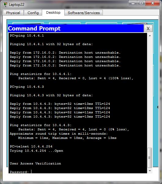 Test ping dan telnet dari Laptop22