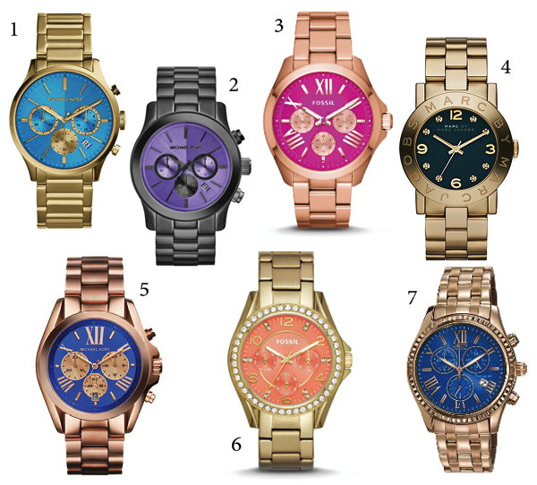 1 michael kors mid size goldenblue stainless steel bailey chronograph watch 250 - Color Watches