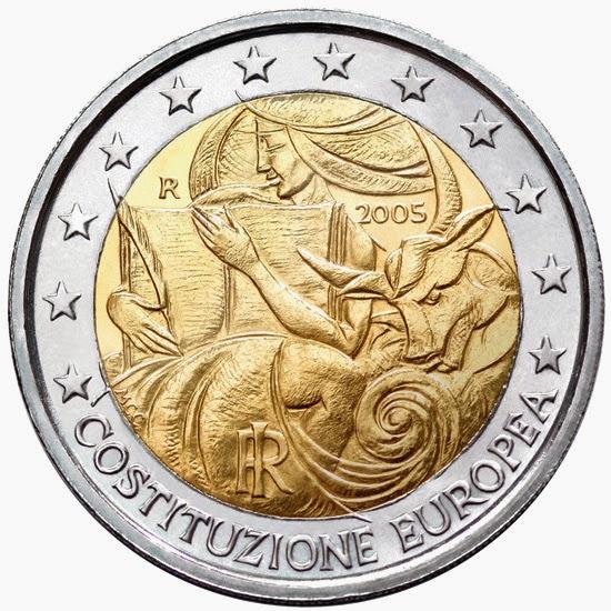 2 euro coins Italy 2005 European Constitution