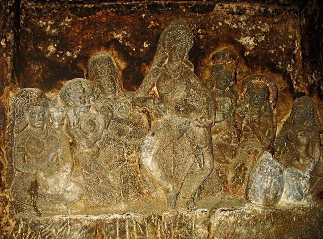 sculpted maidens inside Aurangabad caves