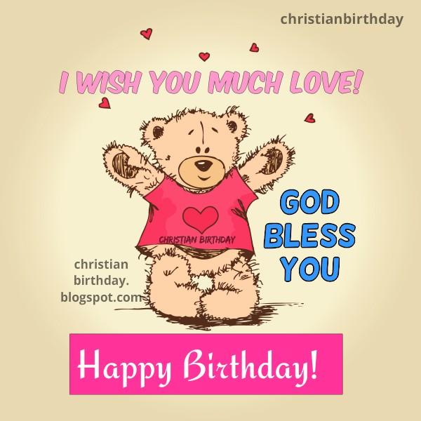 Nice cute happy birthday free christian card for girl, woman, baby