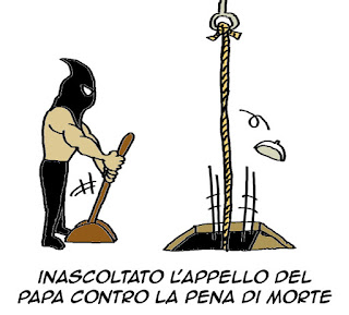 Papa Francesco, pena di morte, vignetta satira