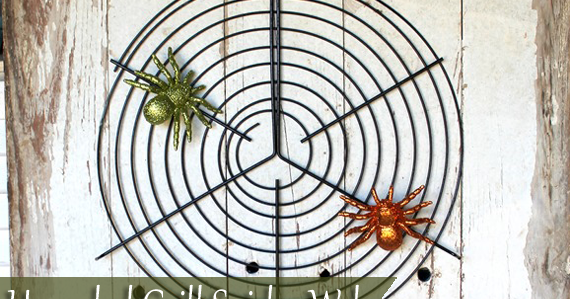 make an upcycled grill grate spider web creative green