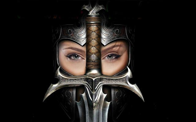 Chica Guerrera con Espada y Casco Imagenes de Mujeres Guerreras