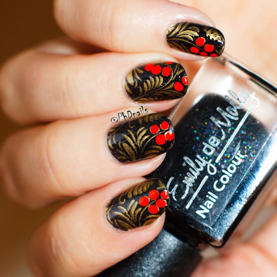 Phd Nails November Macro Challenge Khokhloma Nail Art With